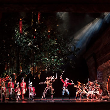 THE NUTCRACKER by Tchaikovsky ; Mathias Dingman as The Prince;  King Rat ; Corps de ballet ; Produced and choreographed by Peter Wright ;  Designed by John Macfarlane ;  Birmingham Royal Ballet, UK ; 24 November 2017 ; Credit: Bill Cooper