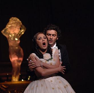 LA TRAVIATA by Verdi ; Anna Netrebko (as Violetta) ; Jonas Kaufmann (as Alfredo) ; The Royal Opera ; at the Royal Opera House, Covent Garden, London, UK ; Revival ; 14 January 2008 ; Mark Ellidge Archive; Credit : Mark Ellidge