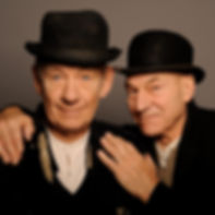 WAITING FOR GODOT by Beckett ;  Patrick Stewart and Ian McKellen ;  Studio Portrait ;  at the Haymarket Theatre Royal, London, UK ;  July 2009 ;  Credit: Sasha Gusov