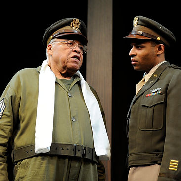 MUCH ADO ABOUT NOTHING by Rylance ; James Earl Jones as Benedick and Lloyd Everitt as Claudio ; at The Old Vic Theatre, London, UK ; 19 September 2013 ; Credit : Nigel Norrington