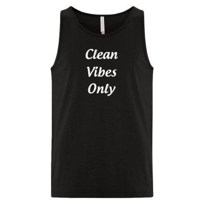 CLEAN VIBES ONLY Logo - Premium Unisex Tank - Black - Sober Clothing