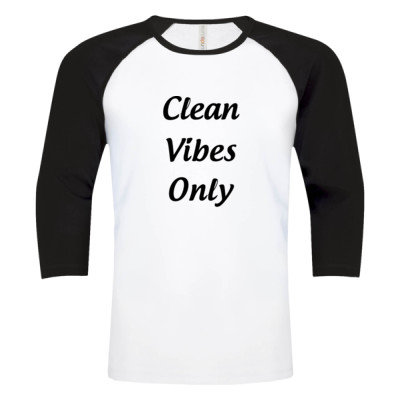 CLEAN VIBES ONLY Logo - Baseball Tee - White Black - Sober Clothing