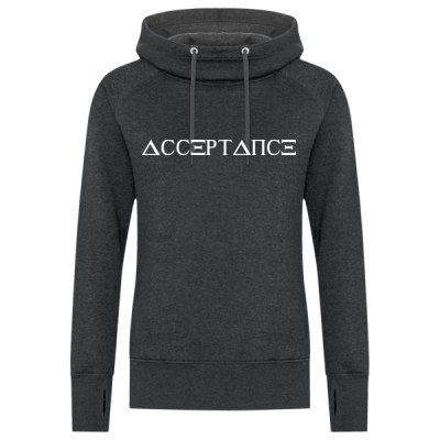ACCEPTANCE Logo - Women's Hoodie - Black Heather - Sober Clothing