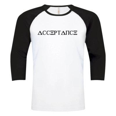 ACCEPTANCE Logo - Baseball Tee - White Black - Sober Clothing