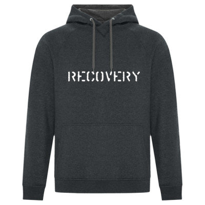 RECOVERY Logo - Premium Unisex Hoodie - Black Heather- Sober Clothing