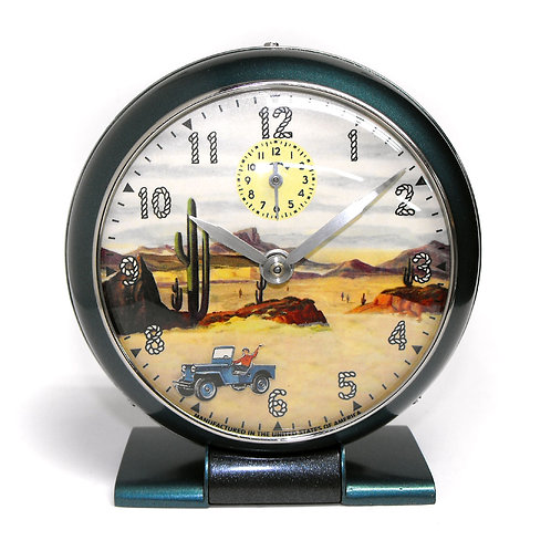 1948 Westclox with Animated Willys Jeep Alarm Clock