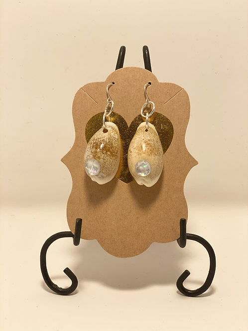 Cowrie Shell and Bling Earrings