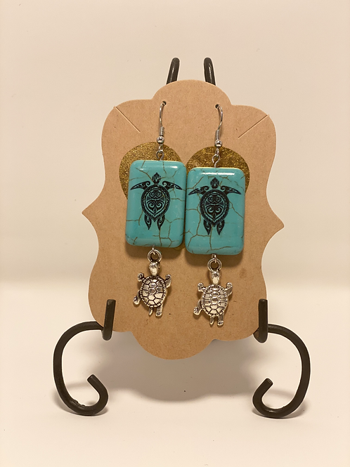 Ceramic and Silver Turtle Earrings