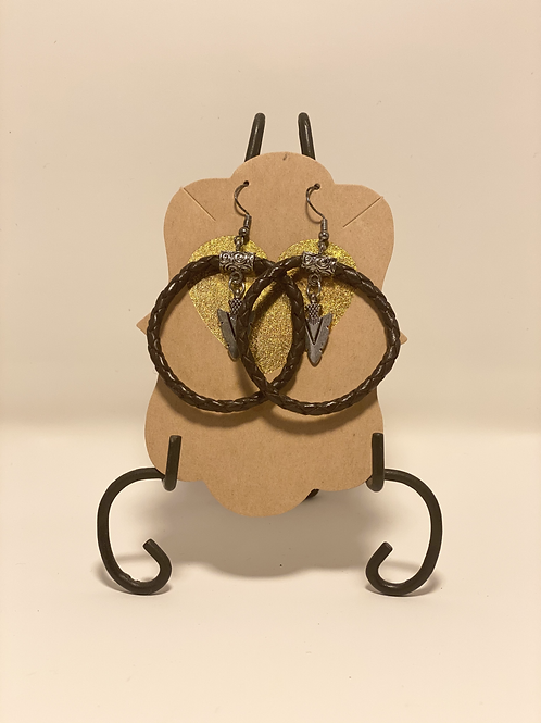Twisted Leather and Antique Arrow Earrings