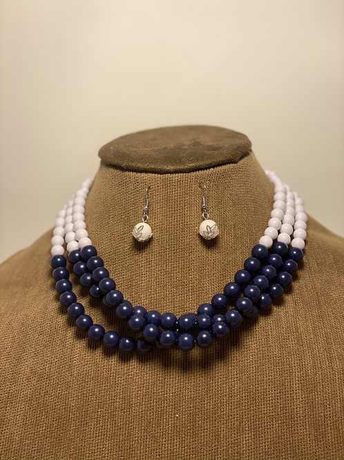 Red, White, and Blue Beaded Set