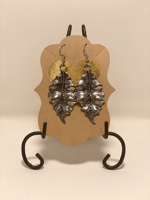 Antique Silver Plated Leaf Earrings