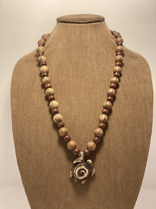 Wood Beads and Turtle Necklace