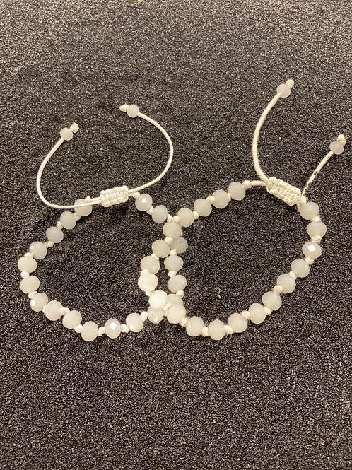 White Bead Men's Bracelet (Set of 2)