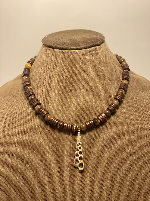 Gold Plated Tiger Eye and Wood Necklace