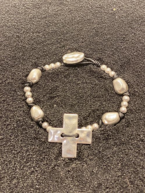 Silver and Cord Men's Bracelet