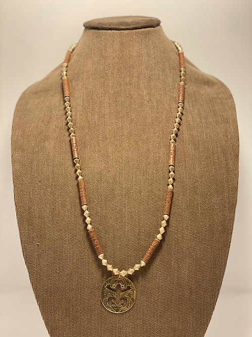 Golden Wood Beads and Gold Plated Taino Coqui Necklace