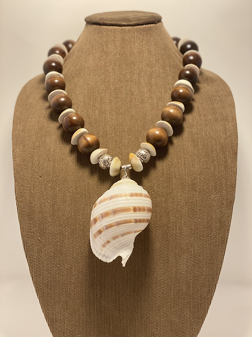 Moon Operculum, Wood Beads, and Natural Rapana Shell Necklace