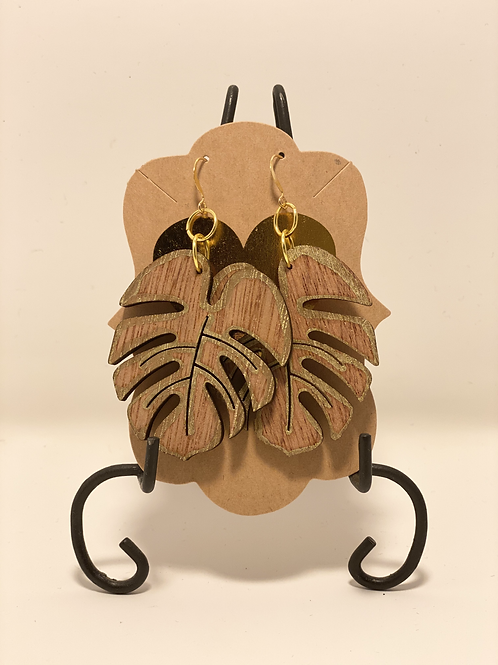 Wood and Gold Flower Earrings
