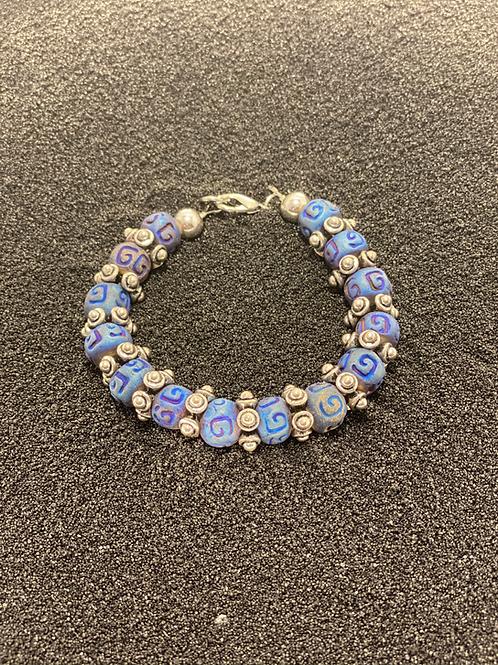 Blue Wood and Silver Men's Bracelet