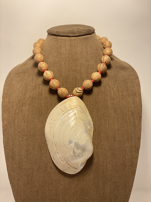 Fresh Water Pearled Clam Shell Necklace