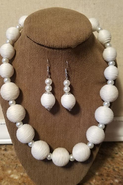 Pearls & White Cotton Wrap Set