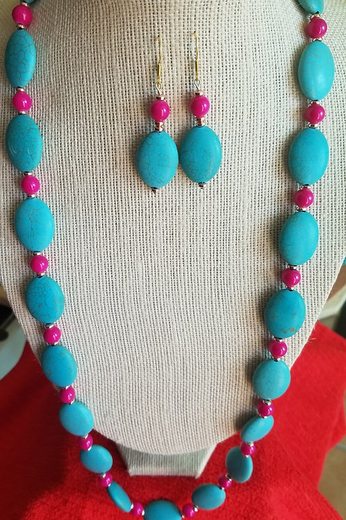 Turquoise Howlite & Red Set