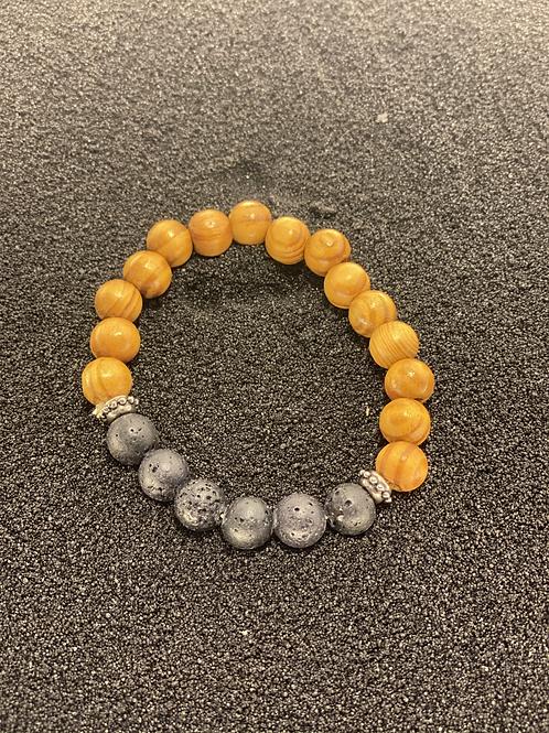 Lava Bead and Wood Men's Bracelet