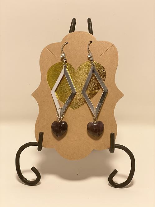 Silver Diamond Shaped with Amethyst Heart Drop Earrings