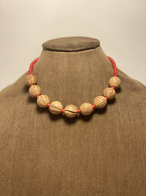 Wood Beads and Red Coral Necklace