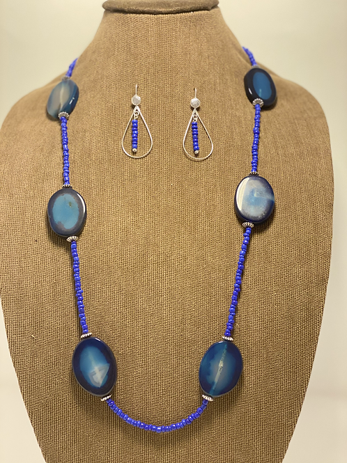 Silver-filled Blue Oval Agate and Seed Bead Set