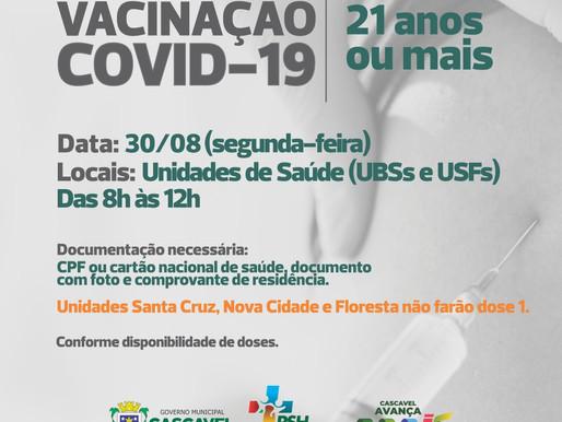 Covid-19: Cascavel vacina jovens de 21 anos completos ou mais