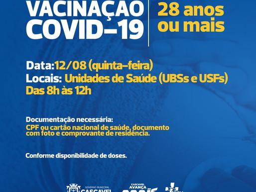 Covid-19: Cascavel abre vacinação para 28 anos nesta quinta-feira (12)