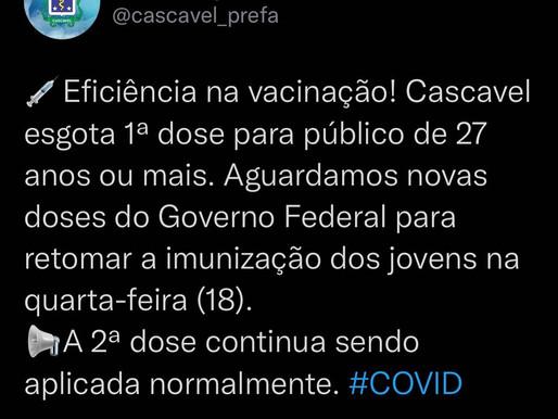 Cascavel aplicou mais de 262 mil doses de vacina contra a Covid-19