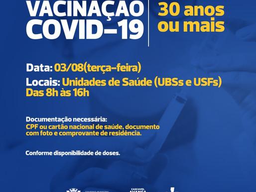 Cascavel abre vacina para 30 anos ou mais nesta terça-feira (3/08)