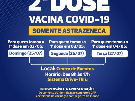 Segunda dose da  AstraZeneca será aplicada no Centro de Eventos neste domingo (25) em Cascavel