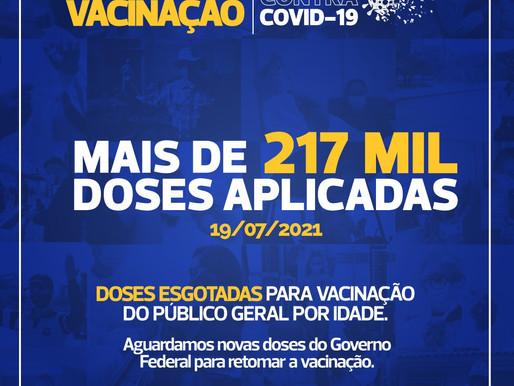 Vacina Covid: Esgotadas as doses para 33 anos ou mais