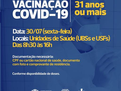 Cascavel abre vacinação para 31 anos nesta sexta-feira (30)