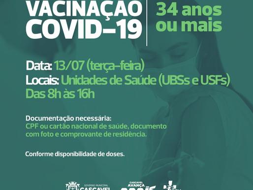 Cascavel amplia vacinação para pessoas com 34 anos ou mais
