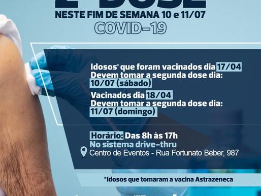 Centro de eventos abre sábado e domingo para a segunda dose da Covid-19
