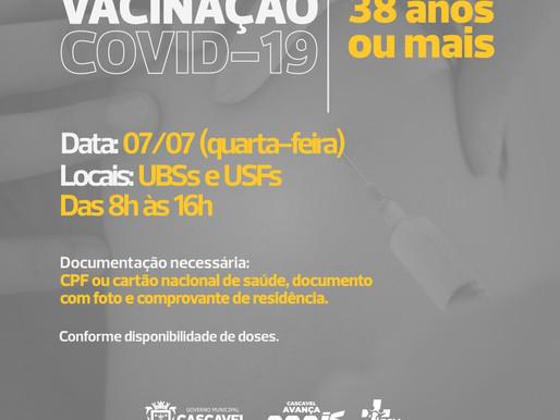 COVID-19: Cascavel vacina pessoas com 38 anos ou mais nesta quarta-feira (7)