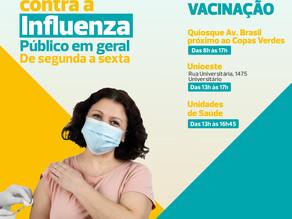 Centro de Cascavel terá ponto de vacinação contra a Influenza