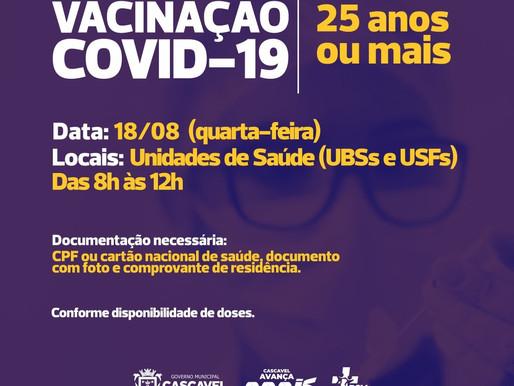 Cascavel vacina pessoas com 25 anos ou mais nesta quarta-feira (18)
