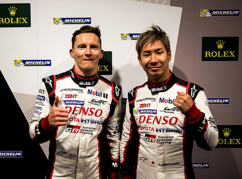 Mike Conway e Kamui Kobayashi, a loro la Pole in LMP1 con la Toyota #7