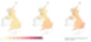 Projections de hausse des températures moyennes au Royaume-Uni d'ici 2020, 2050 et 2080 (de gauche à droite).