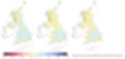 Projections d'évolution des précipitations moyennes au Royaume-Uni d'ici 2020, 2050 et 2080 (de gauche à droite).