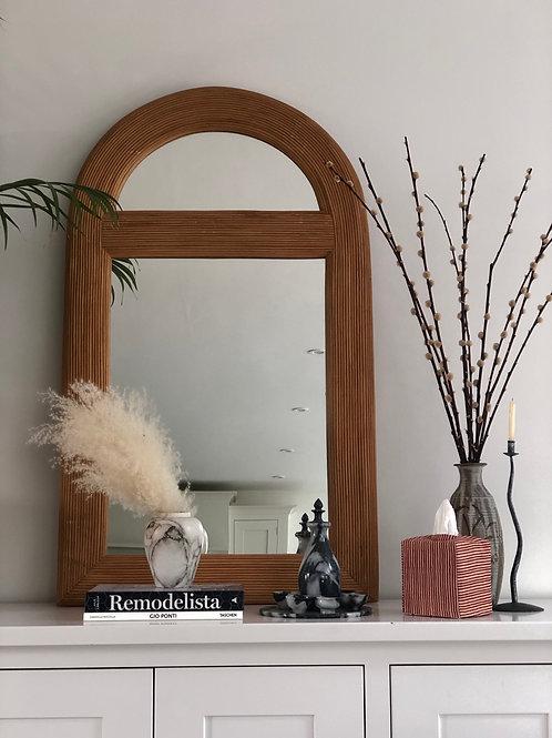 Large vintage Italian pencil reed mirror