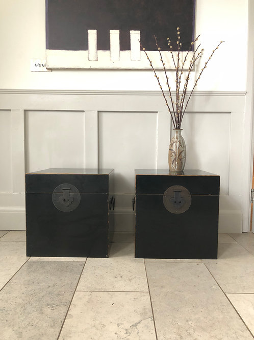 20th century black lacquer lift top chest