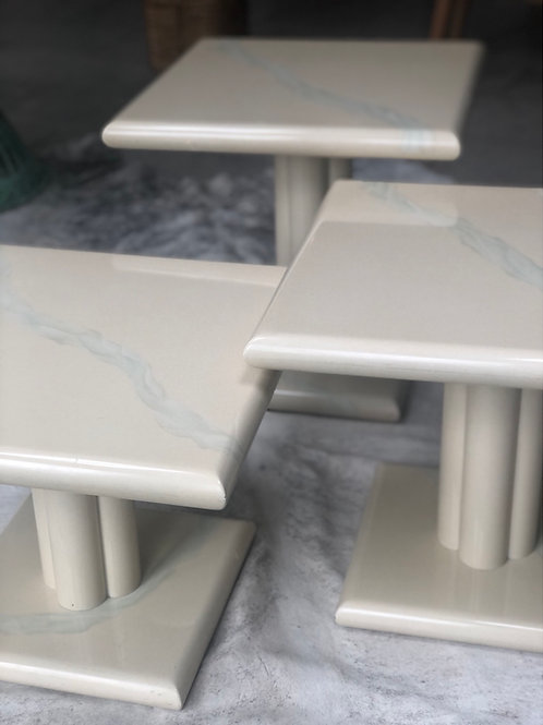 Trio of 1980s signed faux marble tables