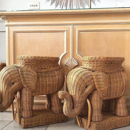 1960s Wicker Elephant Table