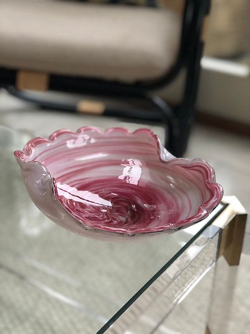 Vintage Art Glass Bowl With Scalloped Rim